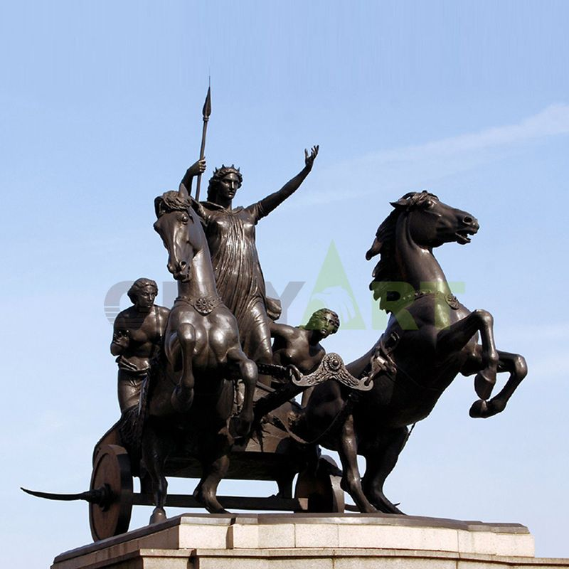 The bronze statue of the king and his horse and carriage