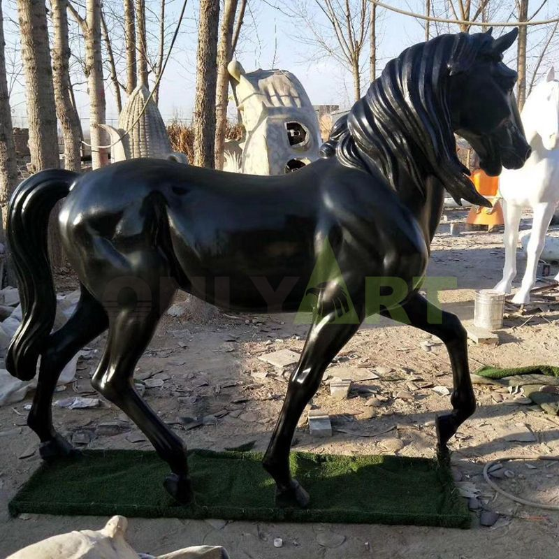 The bronze statue of a galloping pony