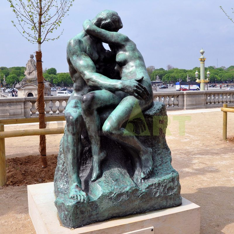 Antique Reproduction Bronze Rodin Kissing Sculpture