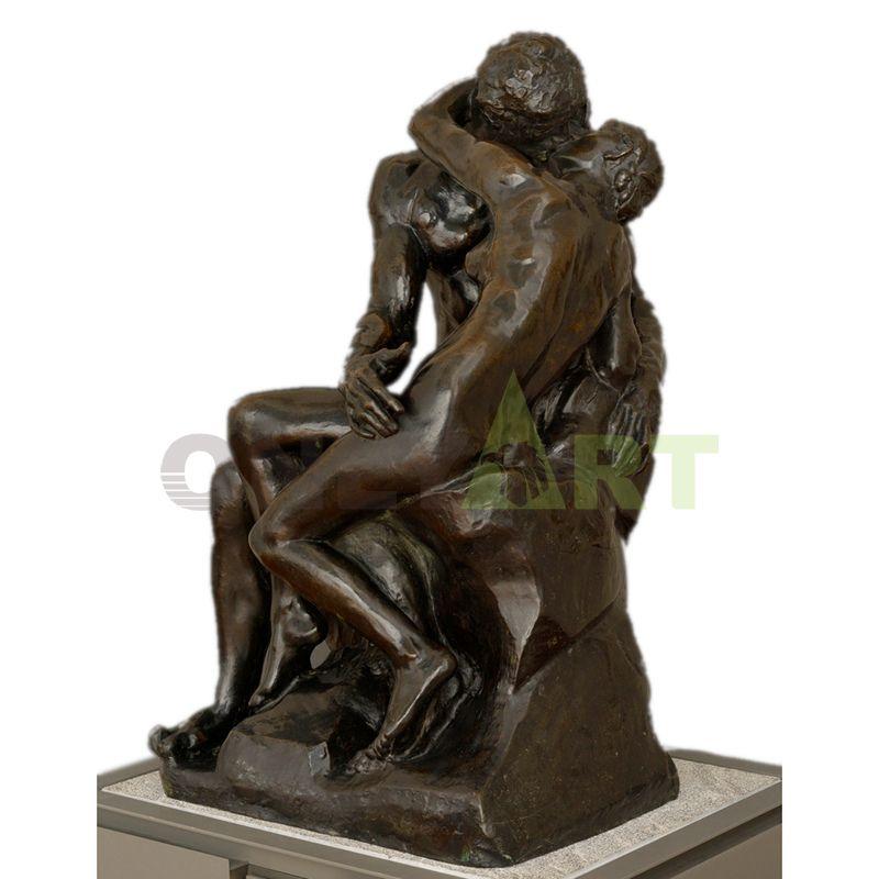 Antique bronze statue of Rodin kissing