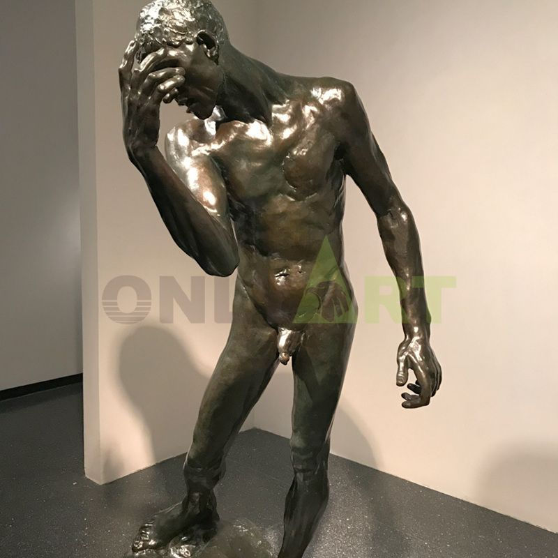 Custom Bronze Rodin Outdoor Arts And Crafts Nude Man Statue for sale