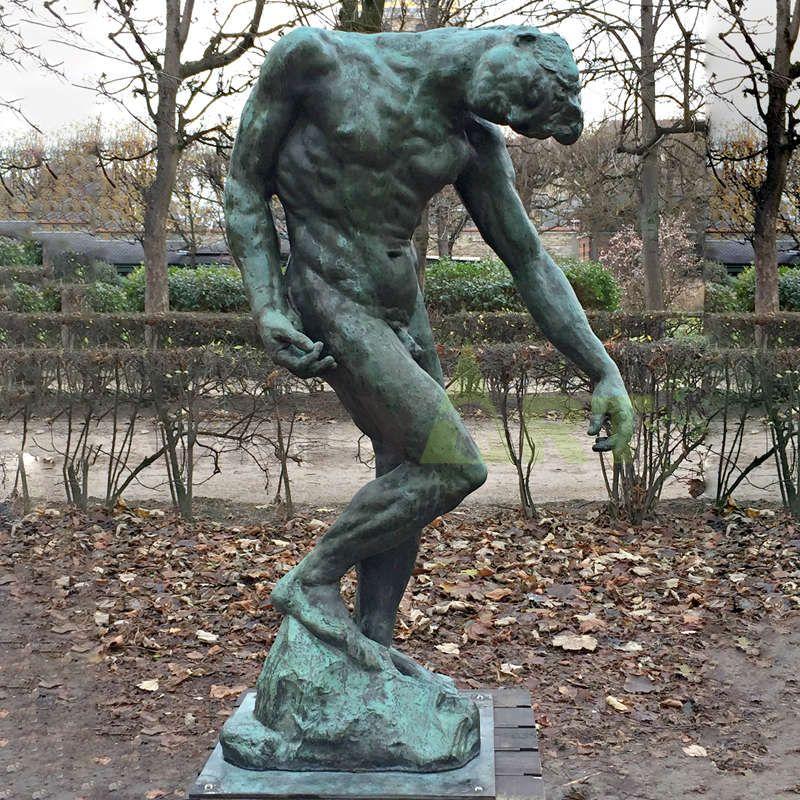 Rodin statue bronze art nude man sculpture, bronze sculpture