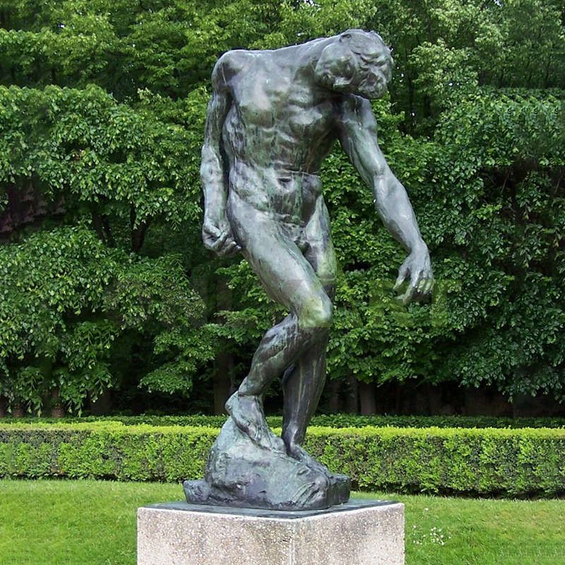 Bronze Nude Man Statue Lower His Head