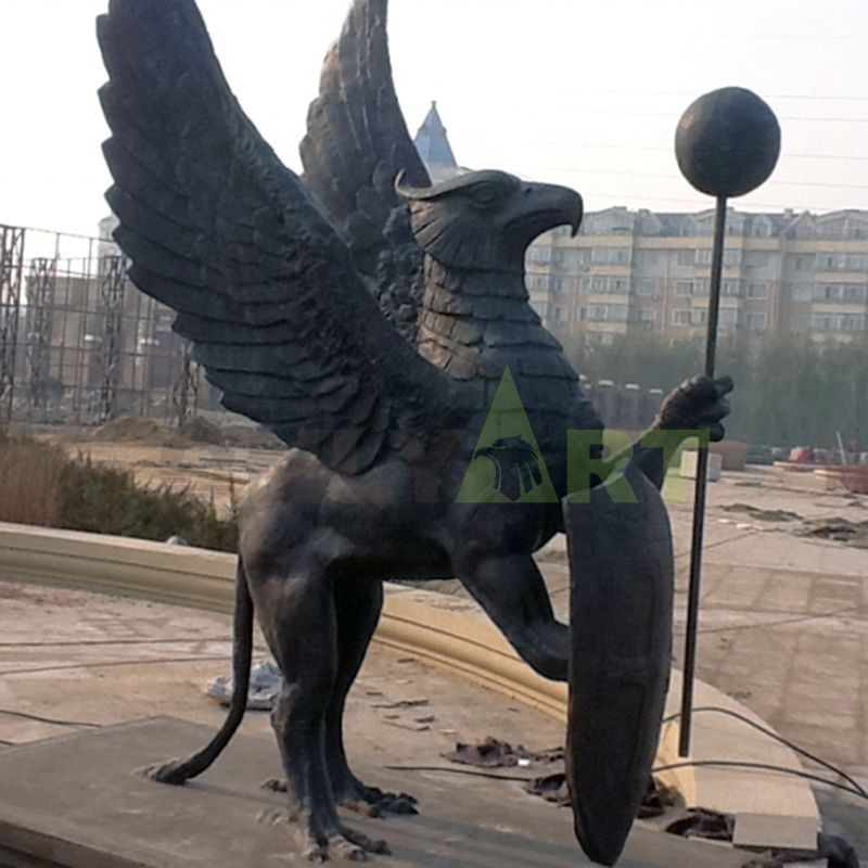 A bronze statue of an ancient mythical beast