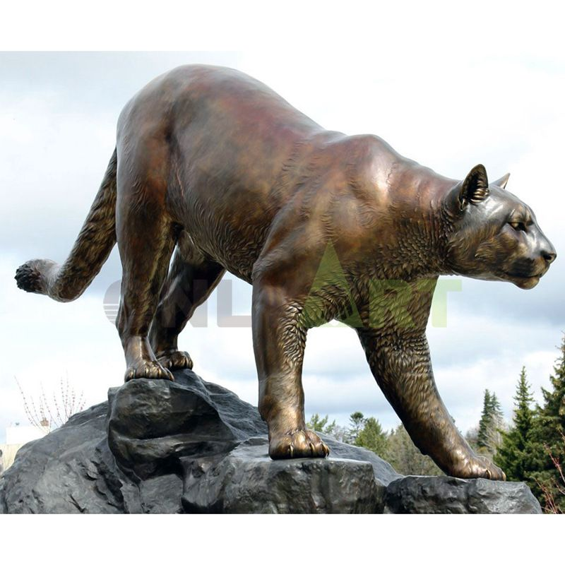 Wildlife Sculpture Monument Bronze Descending Cougar Statue