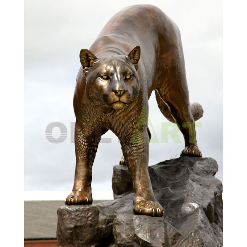 Garden Decoration Metal Crafts animal bronze sculpture panther cougar mascot statue