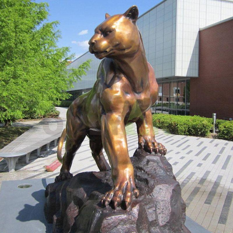 bronze sculpture panther cougar mascot statue