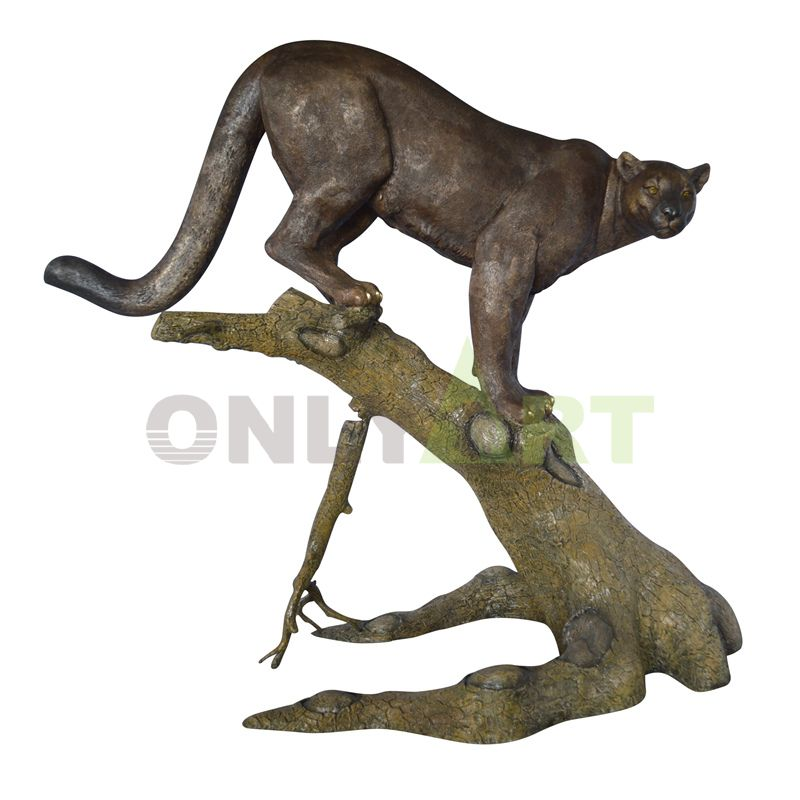 leopard Large Size Realistic Look Statue Wildlife Leopard Cougar Decorative bronze Figurine