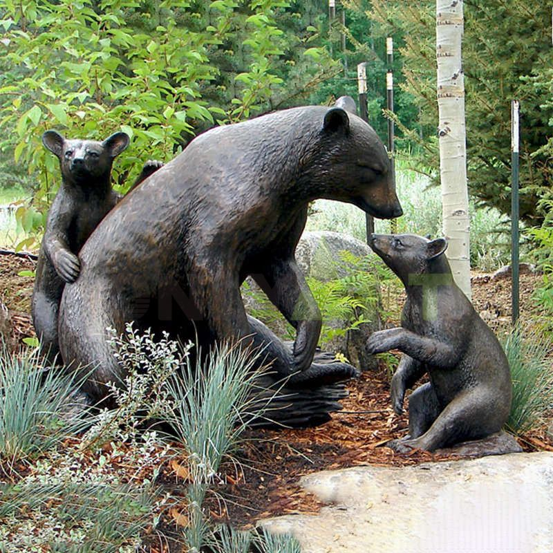 Large Bronze Standing Grizzly Bear Statue Wild Animal Sculpture for Sale