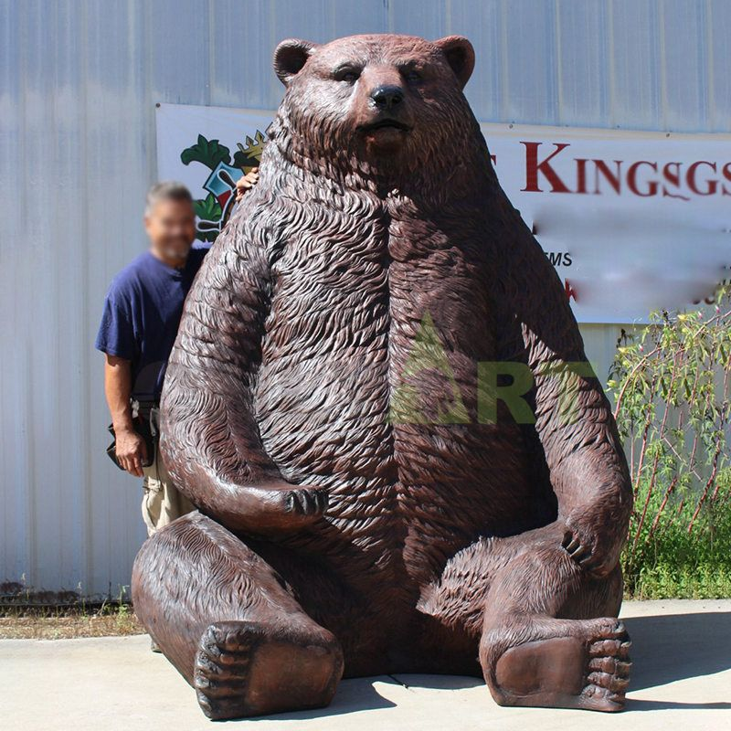 Garden decoration life size  Bronze bear statue playing together