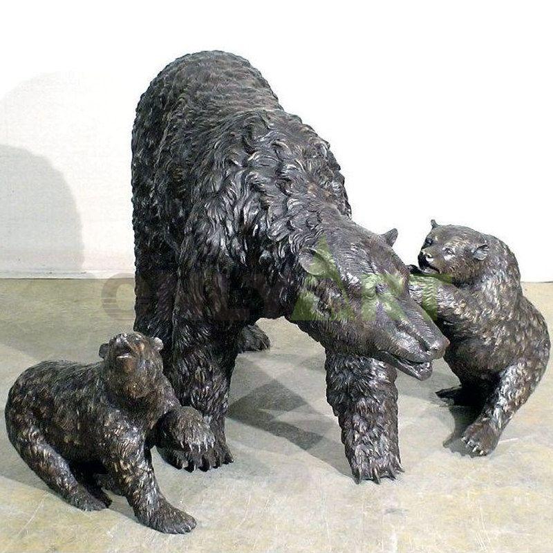 Decoration Life Size Bronze Bear Family Statues