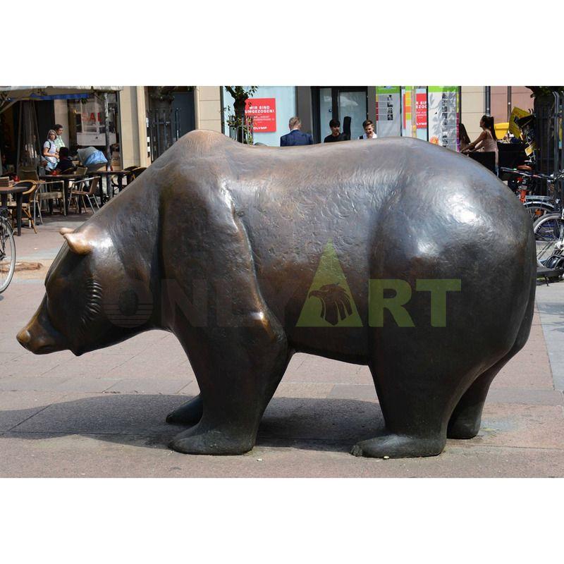 Life size outdoor used bronze bear garden statue