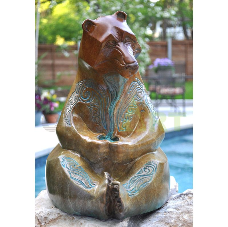 Customized Design Decorative Bronze Animal Statues Bronze Bear Sculpture