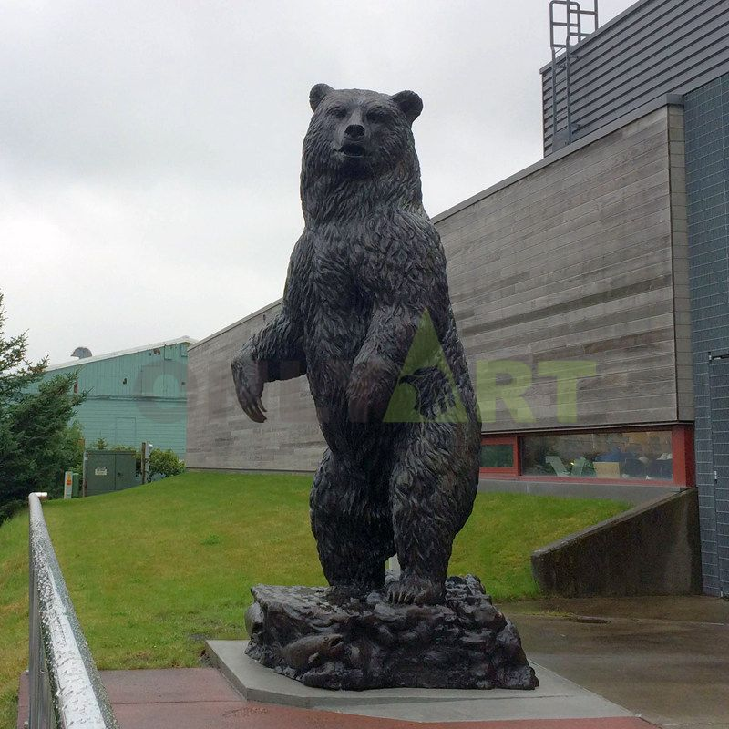Casting grizzly bronze walking bear statue sculpture for decoration