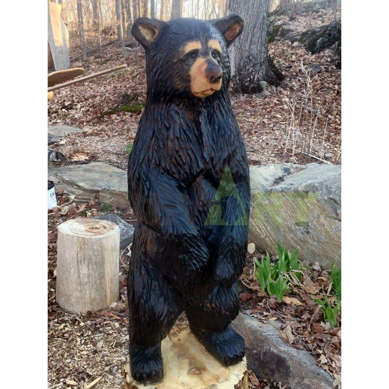 Standing Bronze Bear Statue Animal for Outdoor Garden