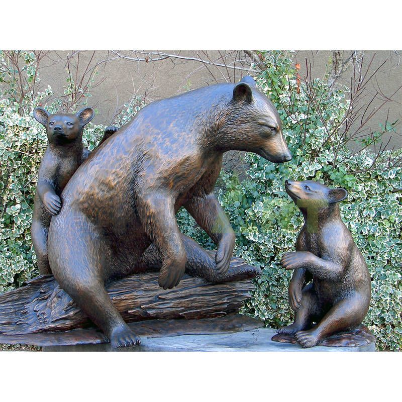 Metal Ornament Large Outdoor Garden Use Antique Designed Brass Bronze Bear Statues