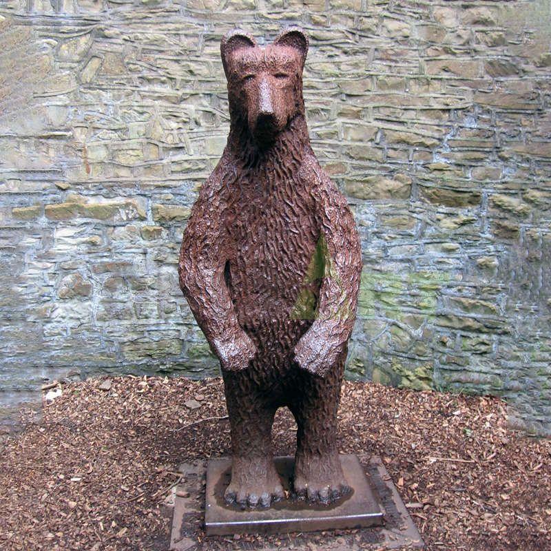 life size antique bronze black bear climbing sculpture with fish statue