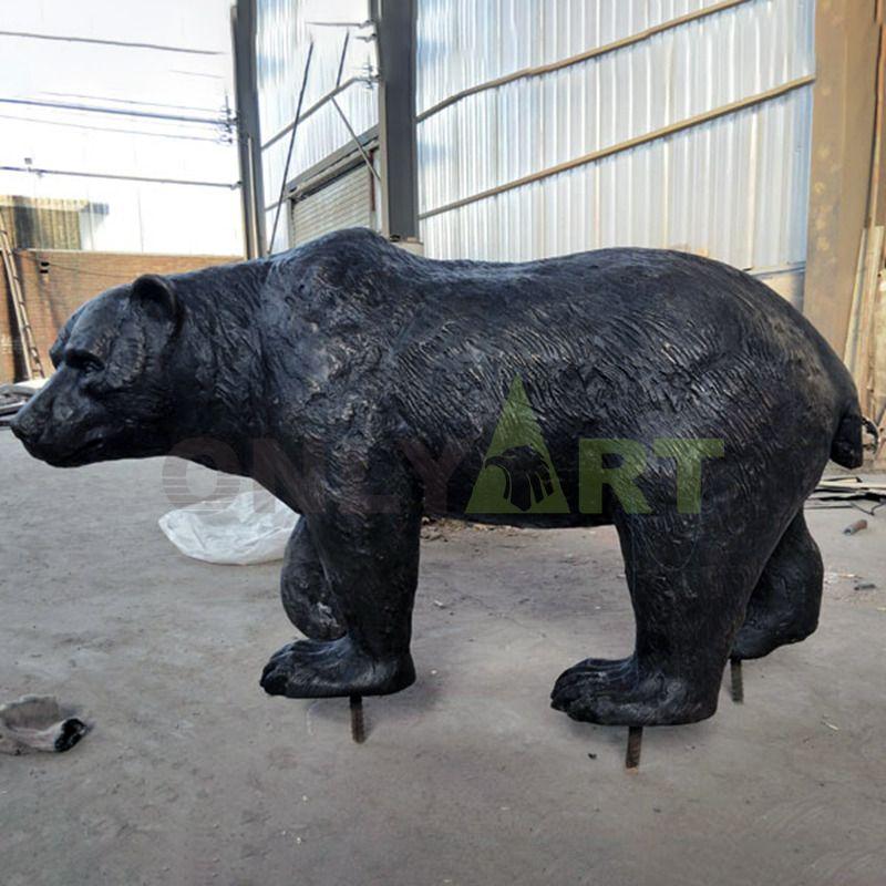 Fine Workmanship Animal Sculpture Life Size Bronze Bear Statue