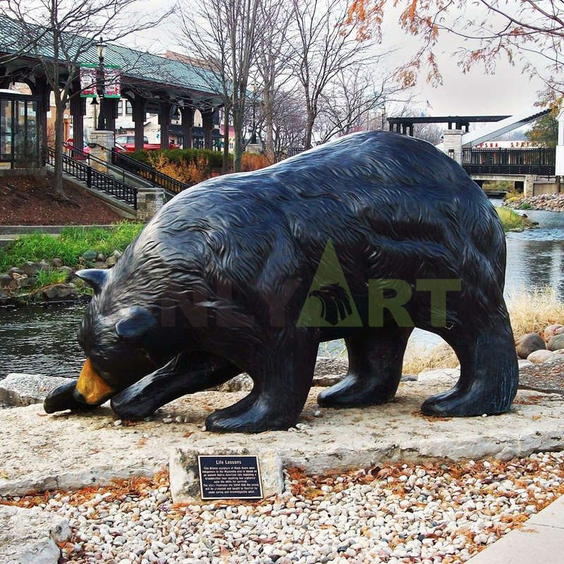 Outdoor Large Bronze Grizzly Bear Sculpture