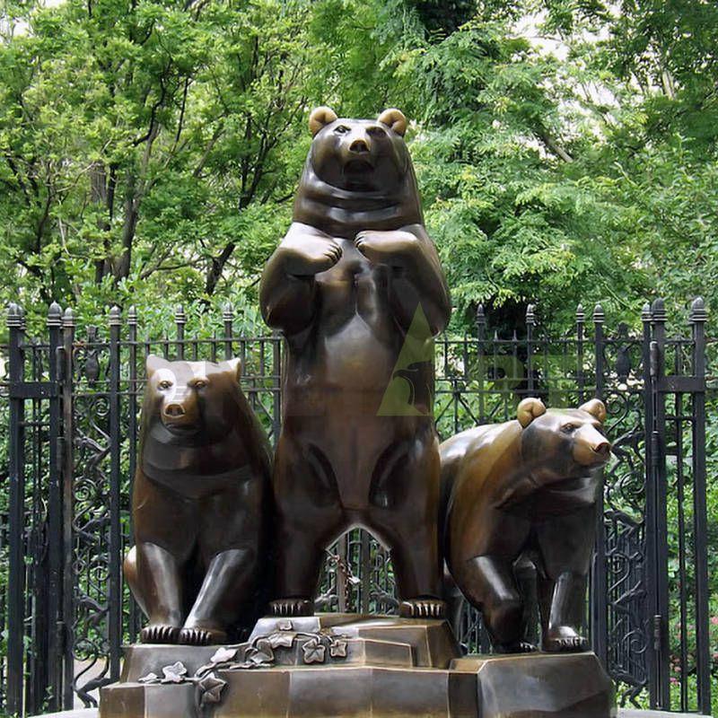 antique brass sculpture bronze standing bear statue for sale
