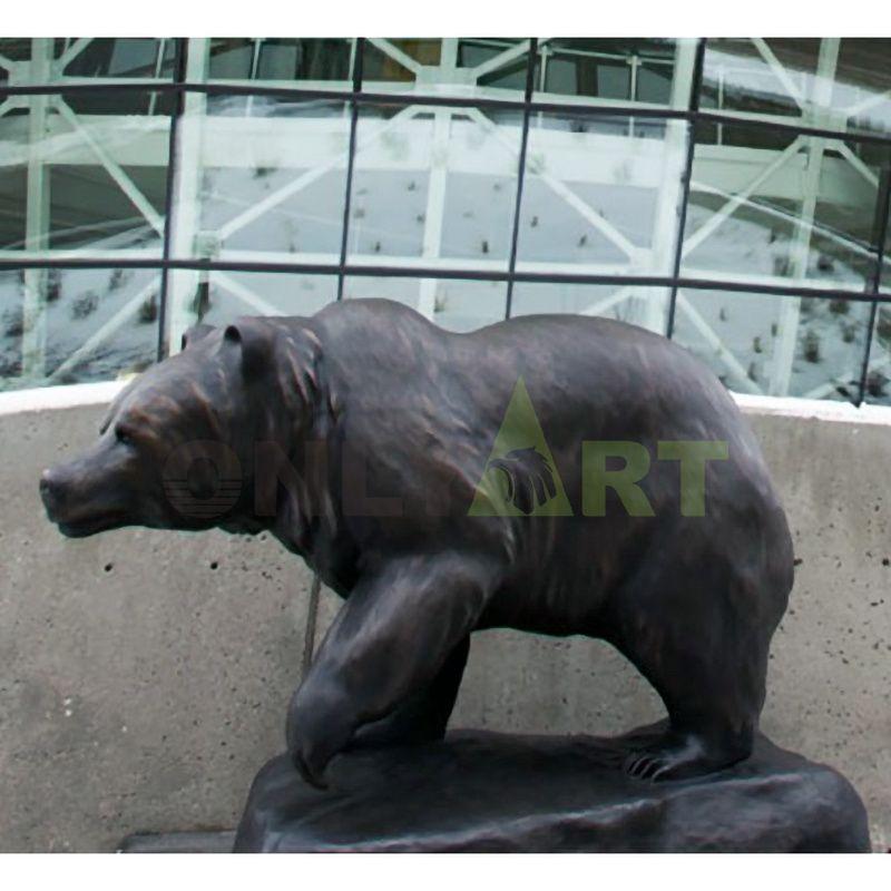 foundry outdoor Garden sculpture Grizzly Bear Life Size Bronze Outdoor Statue