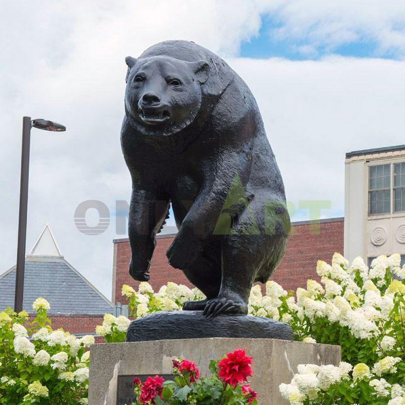 Metal Ornament Garden Decorative Large Real Size Rearing Bronze Bear Sculpture