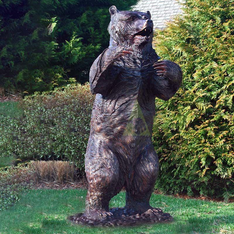 Outdoor Bronze Bear Standing Antique Bronze Animal Sculpture