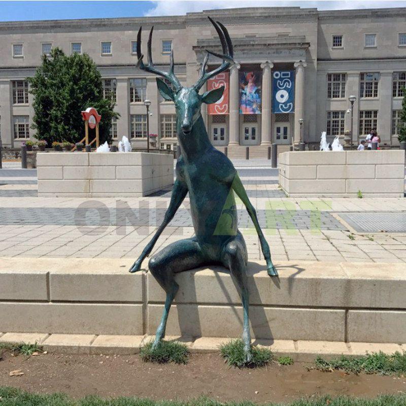 Hot Casting Animal Statue Life Size Bronze Deer Sculpture