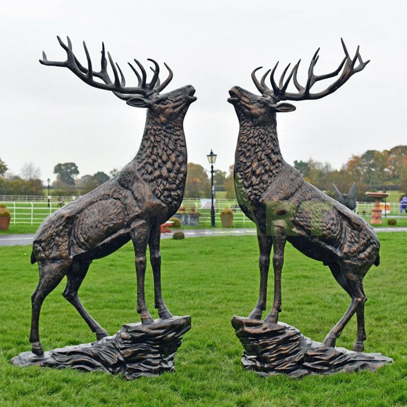 High Quality A Pair of Yellow Bronze Deer Sculptures