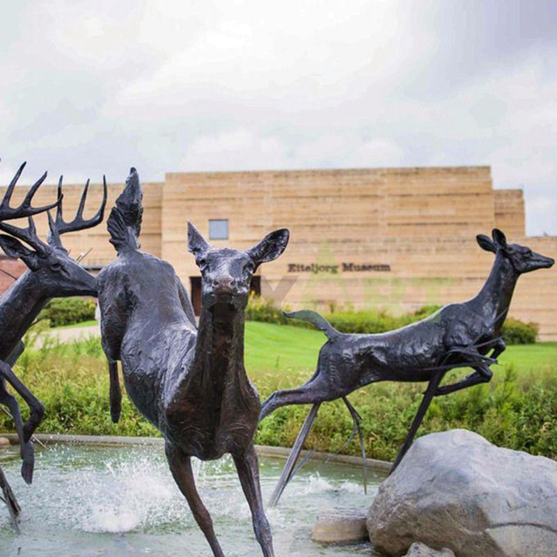 zoo park decoration wild animal cast bronze brass deer sculpture