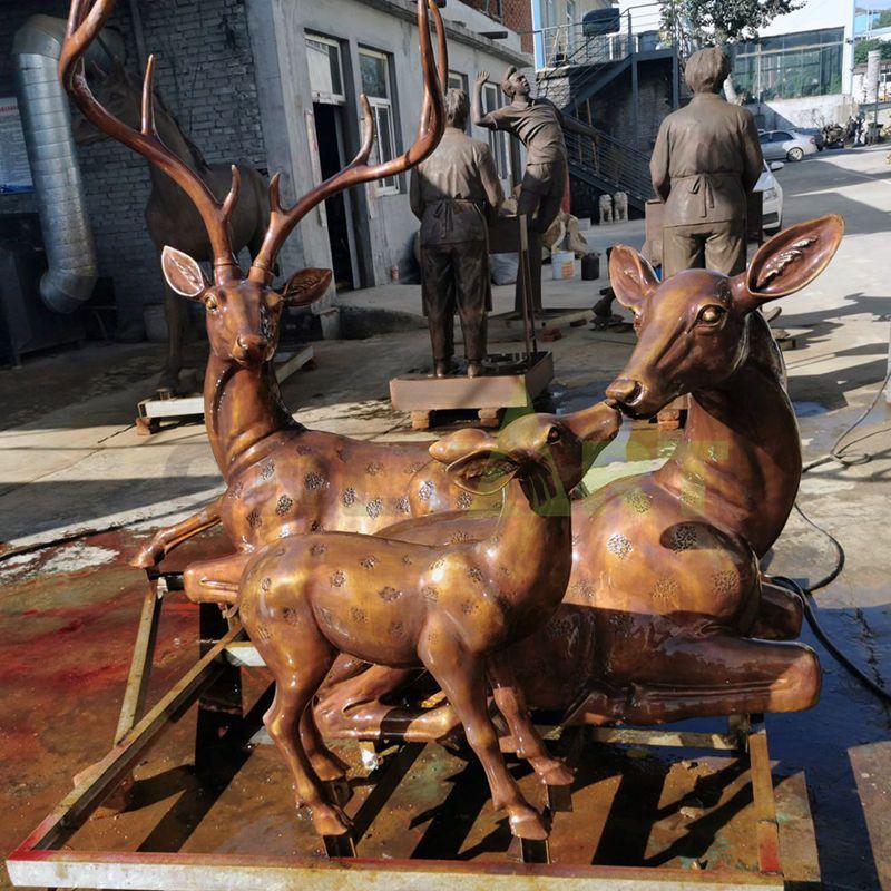 Cast Deer Bronze Garden Moose Sculpture