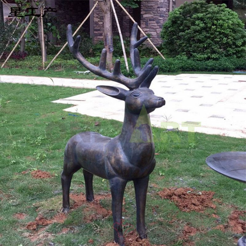 Life Size Bronze Male Deer Art Statue Copper Stag Sculpture for Outdoor