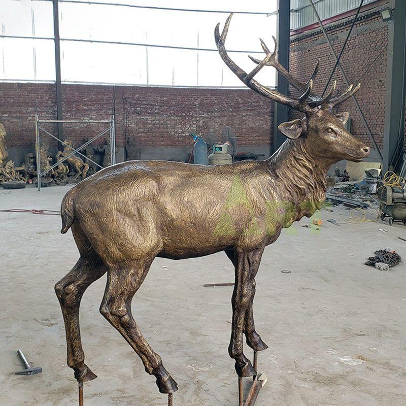 Copper Bronze Life Size Deer Sculpture
