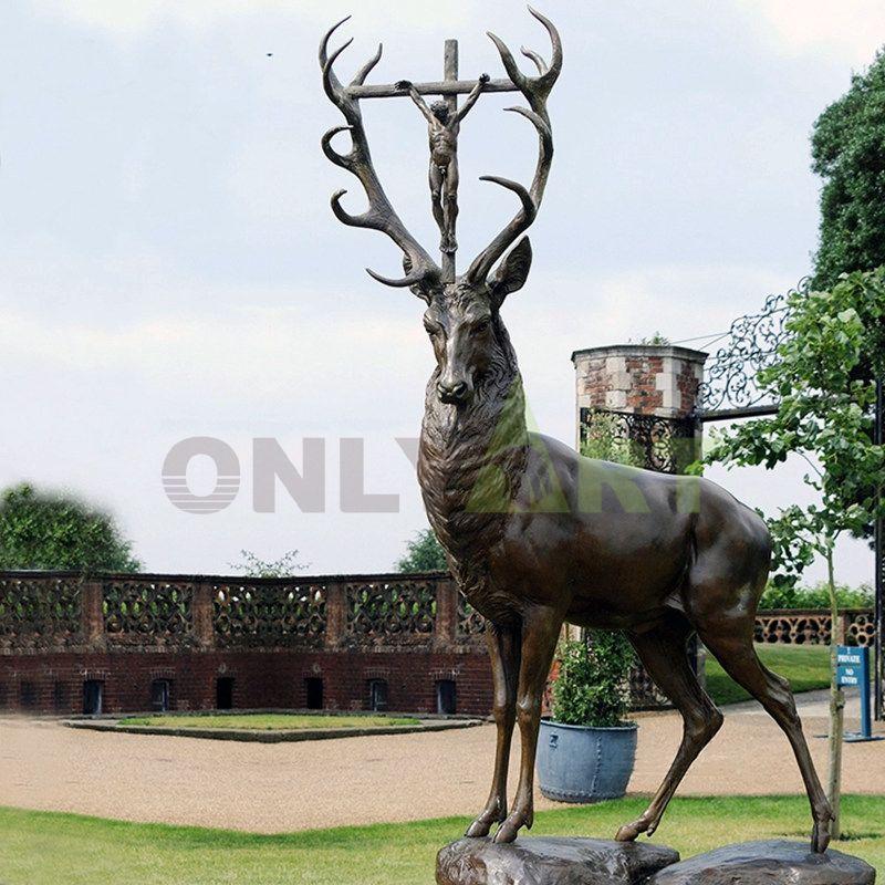 Religious elk outdoor sculpture bronze sculpture