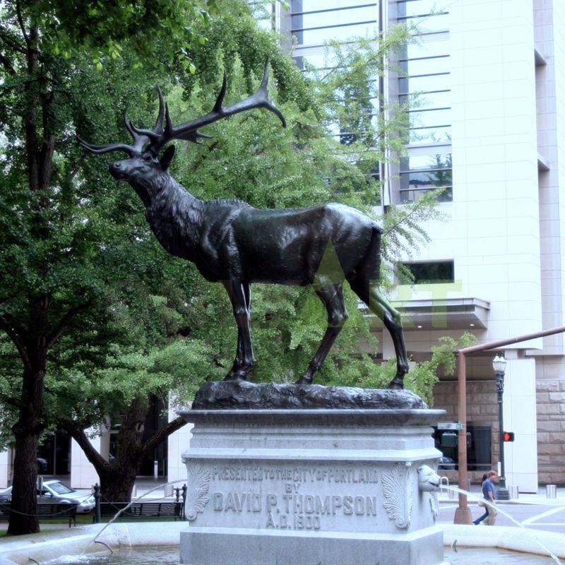 Fallow Deer Sculpture in Bronze of a Buck Standing Alert
