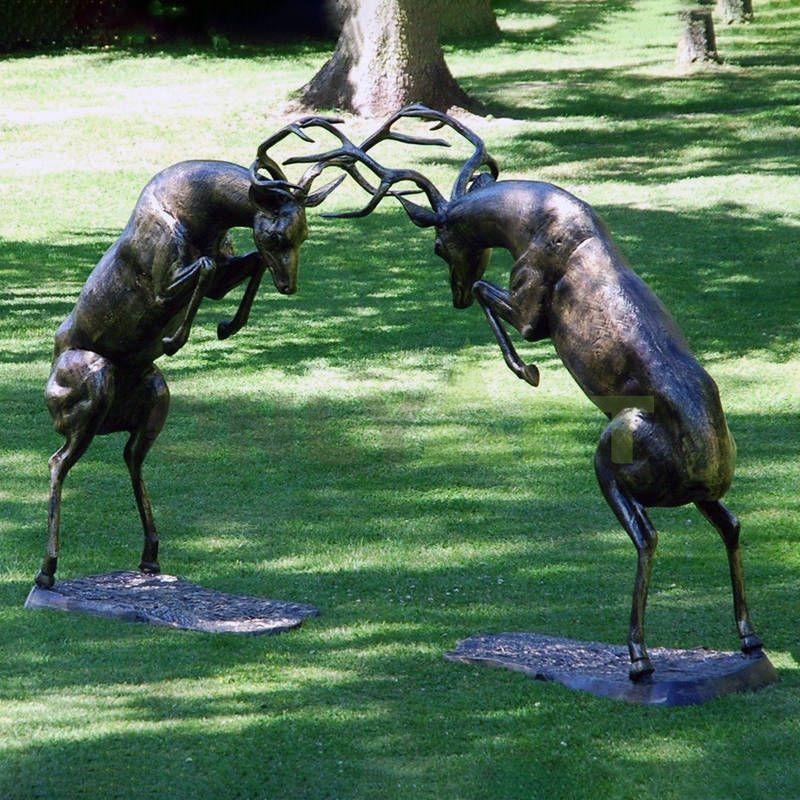 Life Size Bronze Male Deer Art Statue Copper Stag Sculpture for Outdoor and Indoor