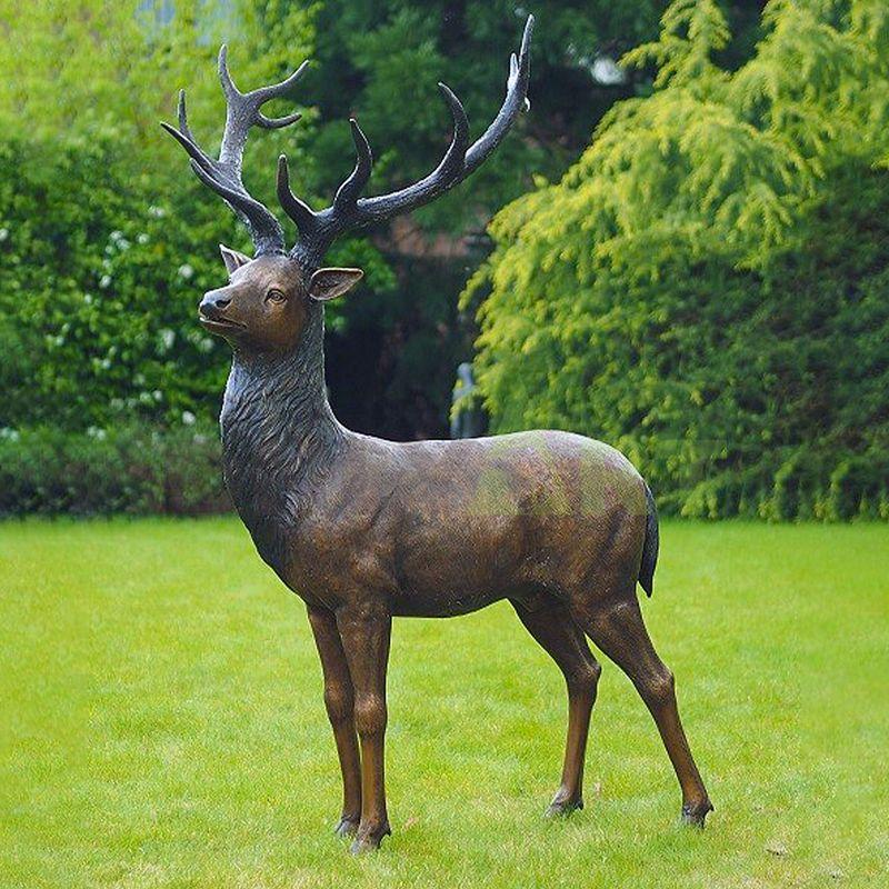 Outdoor Lifelike Garden Cast Deer Bronze Elk Sculpture