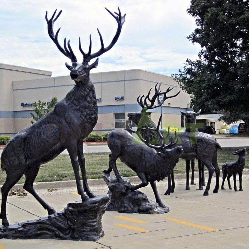 Garden Decor Metal Animal Statue Bronze Art Casting Standing Elk
