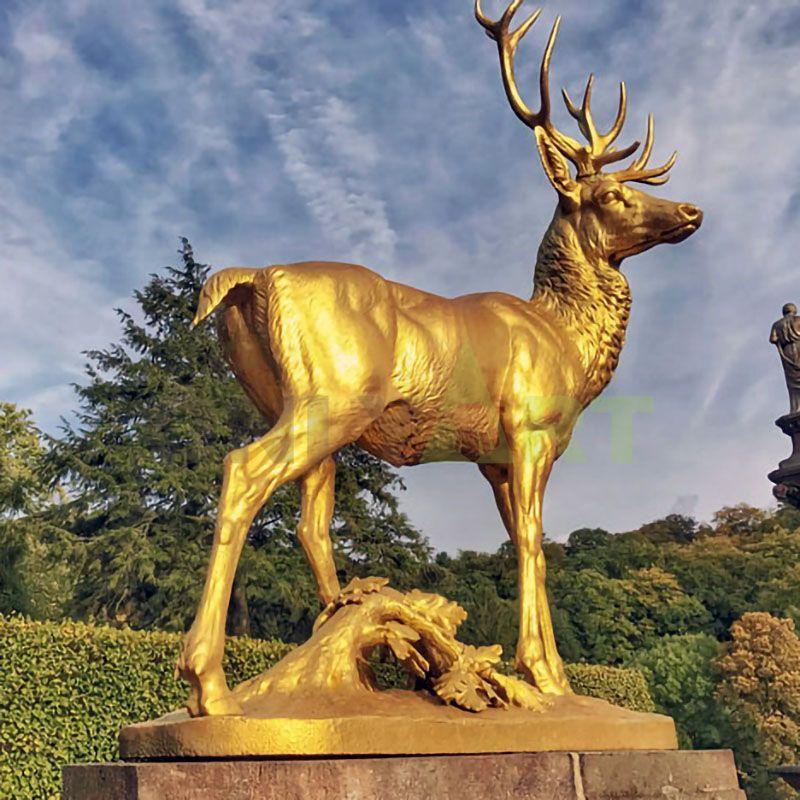 outdoor Life size bronze deer sculpture for garden decoration