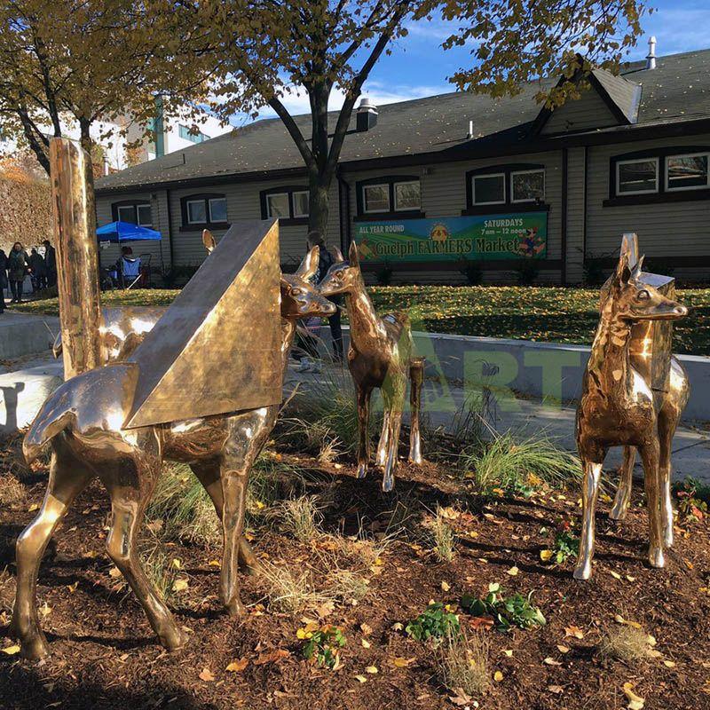 outdoor garden metal large brass lawn bronze deer sculpture