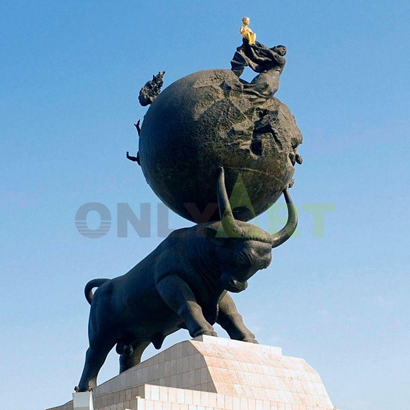 Cast Bronze wall street bull ox statue sculpture