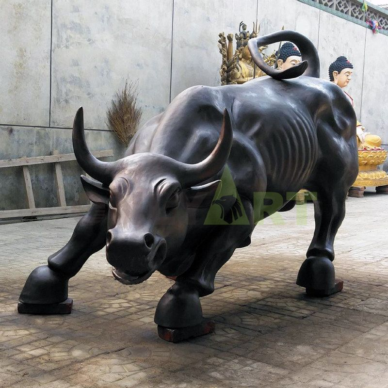 Life Size Cast Bronze Wall Street Bull Sculpture For Sale