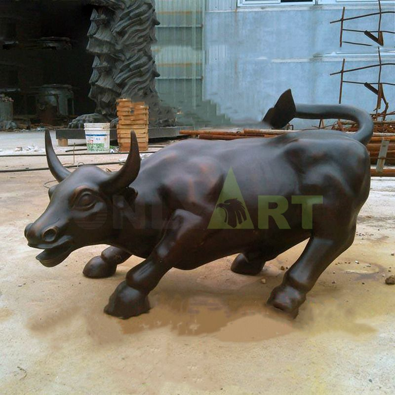 Life Size Bronze Wall Street Bull Statue Large Copper Outdoor Sculpture