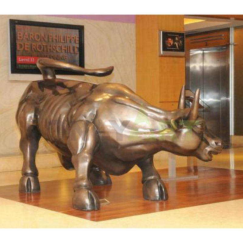 Large Modern bronze Bison Sculptures brass wall street bull for garden decoration