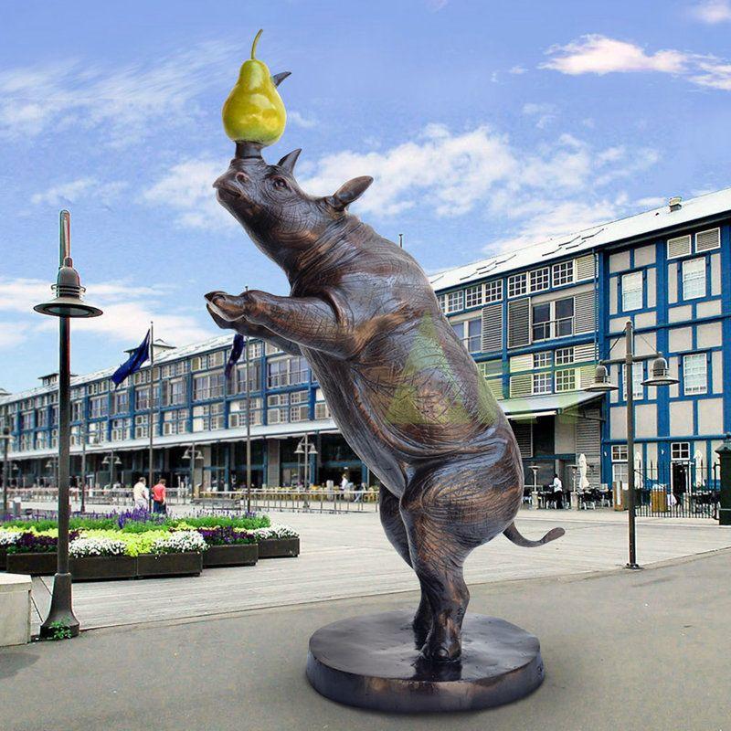 Outdoor Decoration Life Size Bronze Rhino Sculpture