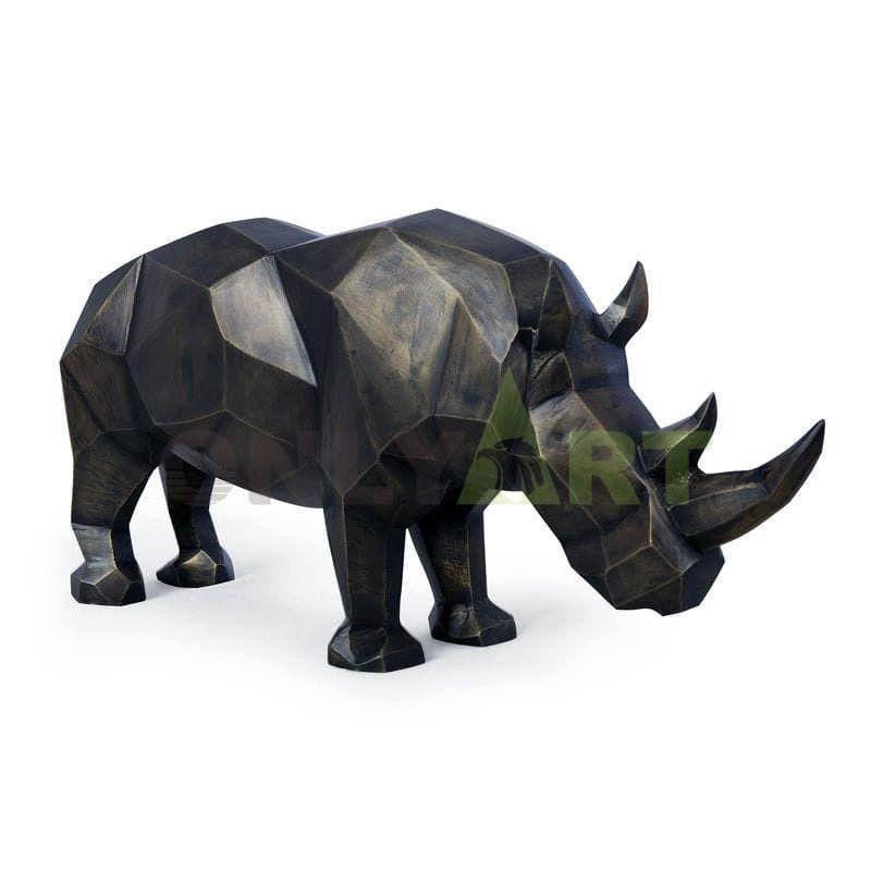 An outdoor garden is decorated with geometric bronze rhinoceros sculptures