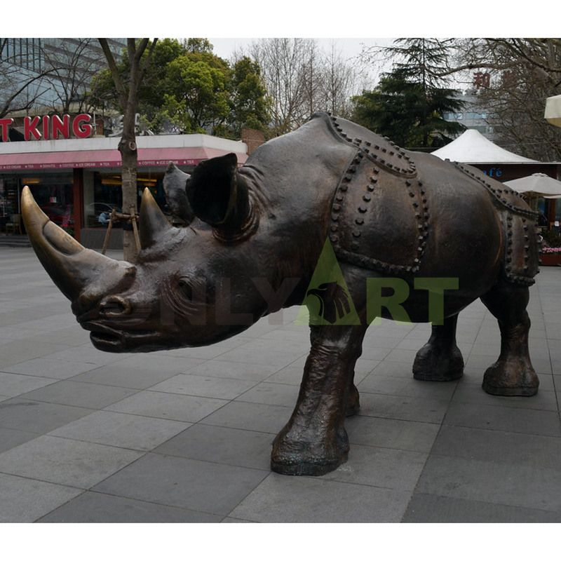 Factory Art Foundry Reproduction lady Metal Crafts largest rhino sculpture