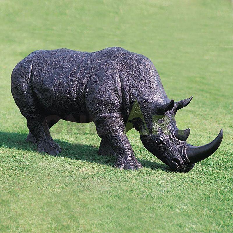 Custom made handmade carved souvenir big rhino sculpture