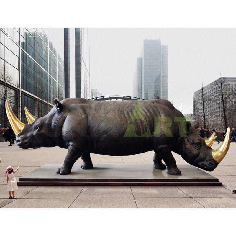 Bronze sculptures of large rhinoceros animals