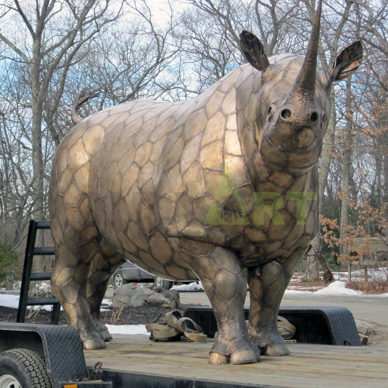 High quality garden decor life size bronze rhino sculpture